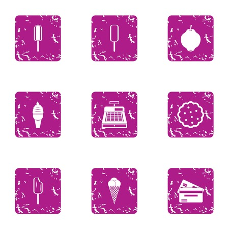 Cash desk icons set. Grunge set of 9 cash desk vector icons for web isolated on white background