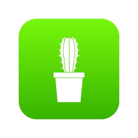 Cactaceae cactus icon digital green for any design isolated on white vector illustration