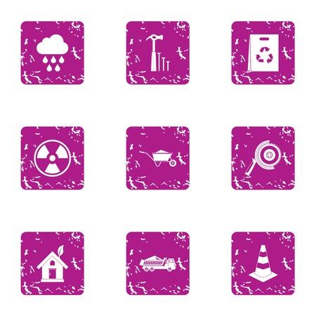 Eco construction icons set, grunge style