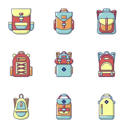 Briefcase icons set. Flat set of 9 briefcase vector icons for web isolated on white background Çizim