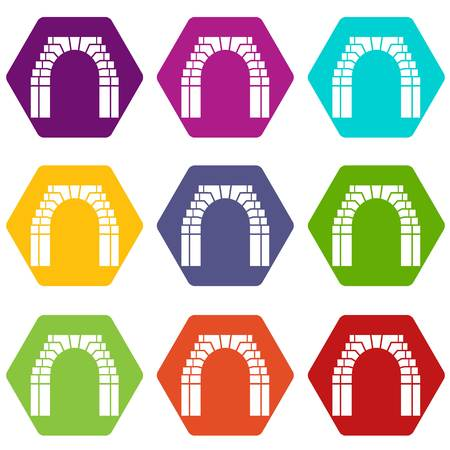 Brick arch icons set 9 vector