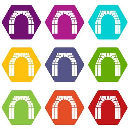 Brick arch icons set 9 vector
