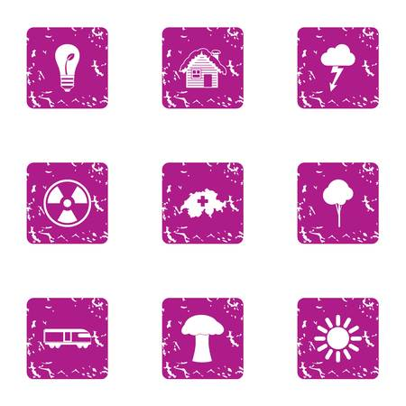 Climatic icons set. Grunge set of 9 climatic vector icons for web isolated on white background