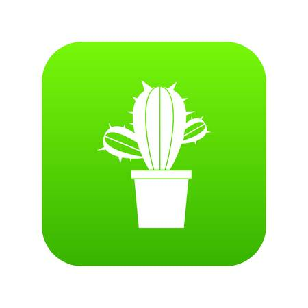 Cactus houseplants in pot icon digital green
