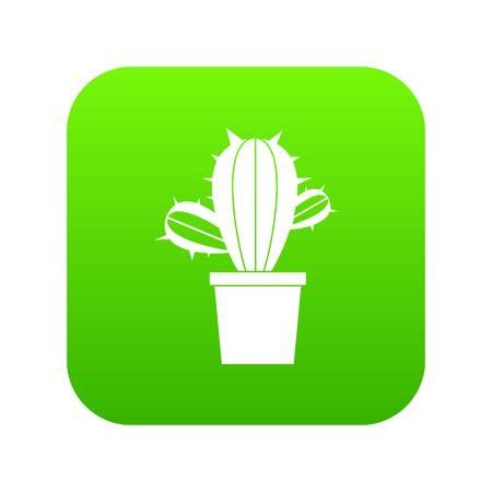 Cactus houseplants in pot icon digital green