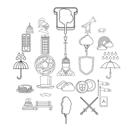 Breakfast in bed icons set. Outline set of 25 breakfast in bed vector icons for web isolated on white background