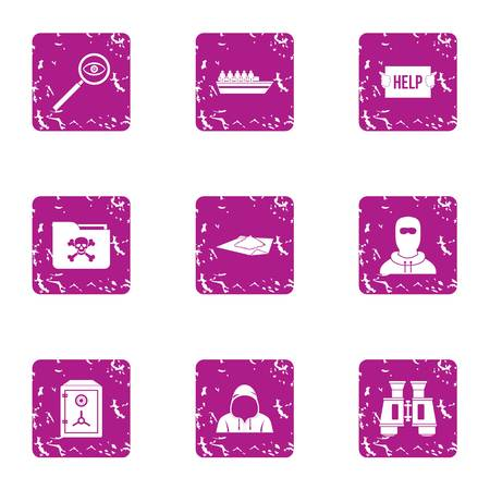 Rescue icons set. Grunge set of 9 rescue vector icons for web isolated on white background