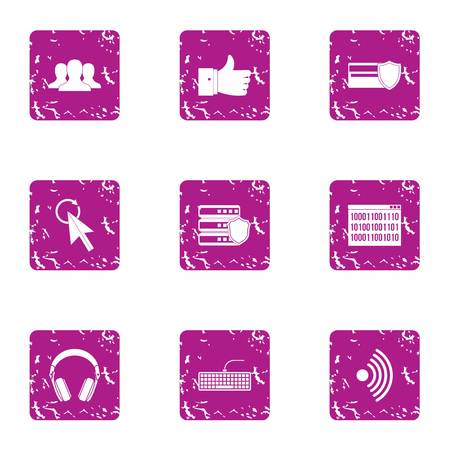 Computer attack icons set. Grunge set of 9 computer attack vector icons for web isolated on white background