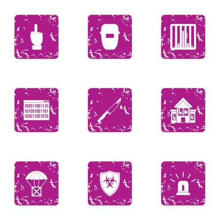 Freight delivery icons set. Grunge set of 9 freight delivery vector icons for web isolated on white background
