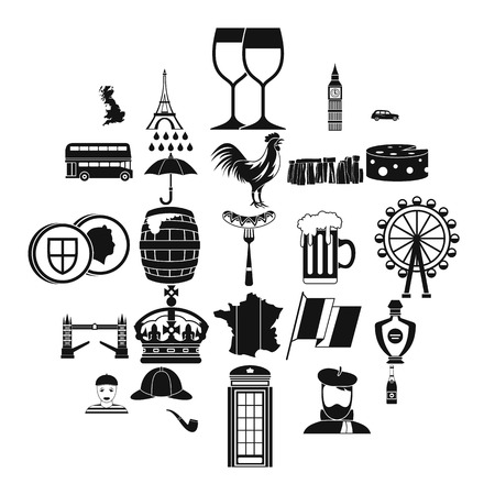 England icons set. Simple set of 25 england vector icons for web isolated on white background