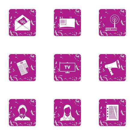 TV receiver icons set. Grunge set of 9 tv receiver vector icons for web isolated on white background