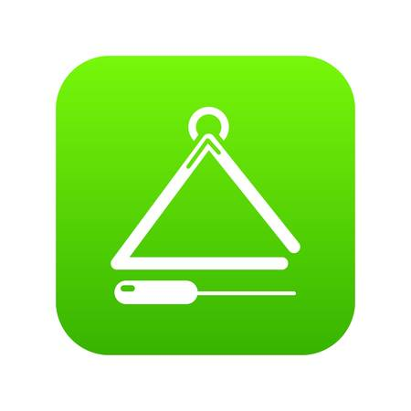 Musical triangle icon green vector Illustration
