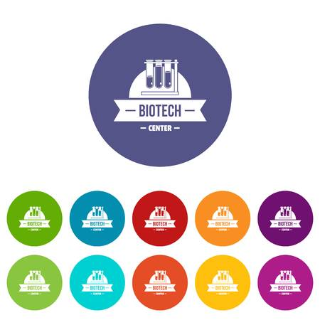 Biotech center icons set vector color