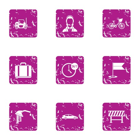 Permanent icons set. Grunge set of 9 permanent vector icons for web isolated on white background