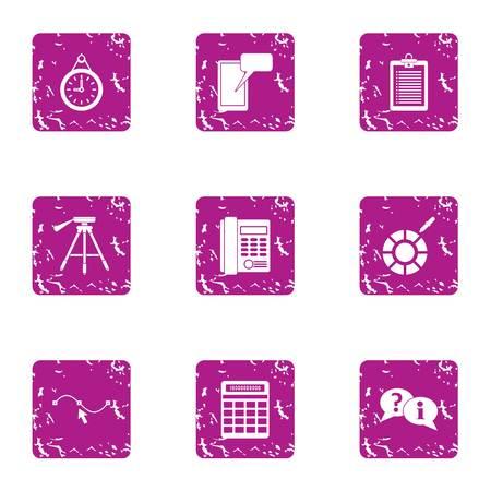 Performance indicator icons set. Grunge set of 9 performance indicator vector icons for web isolated on white background  イラスト・ベクター素材