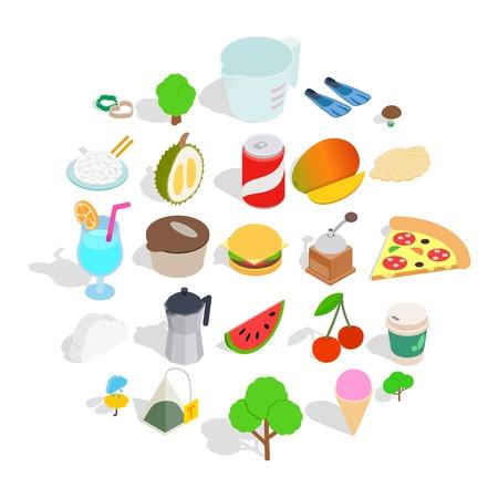 House on the farm icons set. Isometric set of 25 house on the farm vector icons for web isolated on white background Illustration