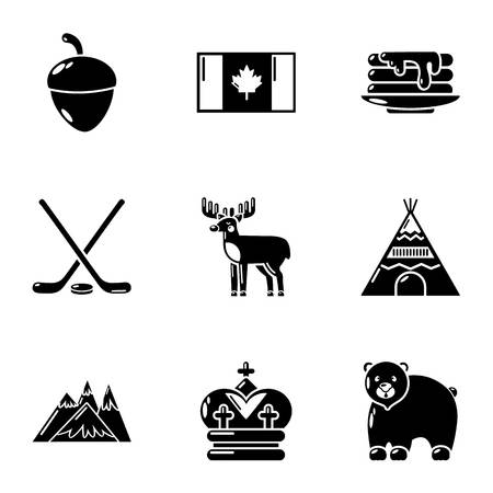 Canadian plaything icons set. Simple set of 9 canadian plaything vector icons for web isolated on white background