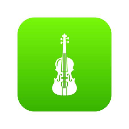 Violine icon green vector isolated on white background Иллюстрация