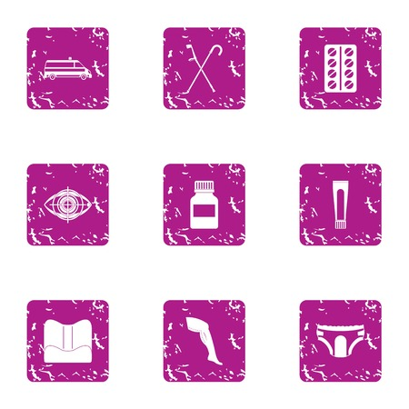 Sport underwear icons set. Grunge set of 9 sport underwear vector icons for web isolated on white background