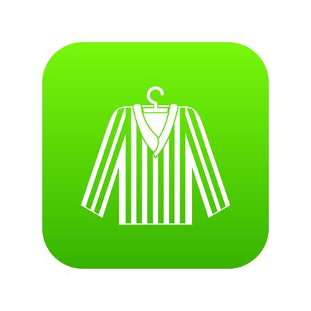 Striped pajama shirt icon digital green for any design isolated on white vector illustration