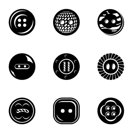 Button bright icons set. Simple set of 9 button bright vector icons for web isolated on white background