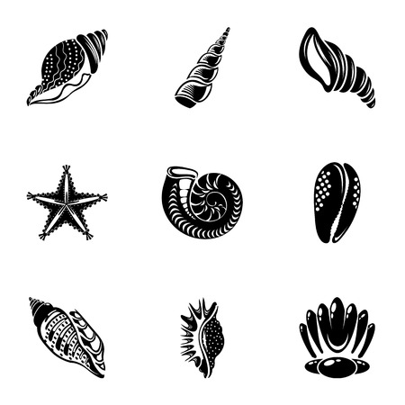 Conch icons set. Simple set of 9 conch vector icons for web isolated on white background Vettoriali