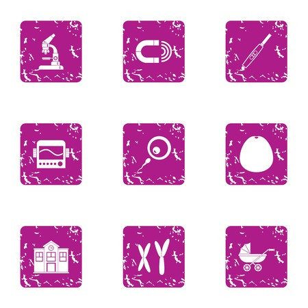 Maternity home icons set. Grunge set of 9 maternity home vector icons for web isolated on white background