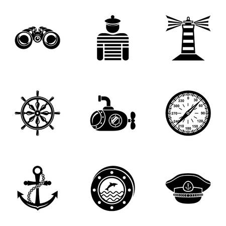 Seaworthy icons set. Simple set of 9 seaworthy vector icons for web isolated on white background