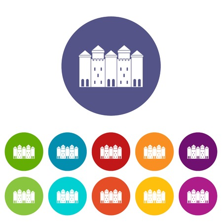 Old castle icons set vector color Illusztráció