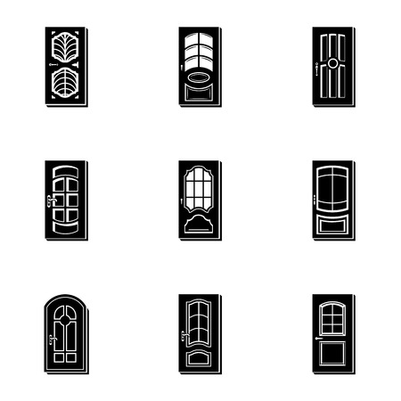 Wood door icons set. Simple set of 9 wood door vector icons for web isolated on white background  イラスト・ベクター素材