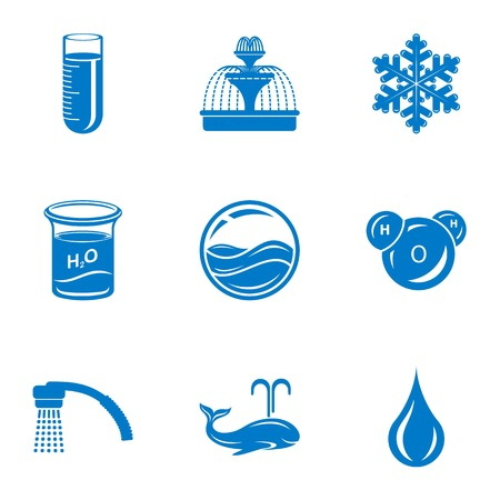 Mineral water icons set. Simple set of 9 mineral water vector icons for web isolated on white background