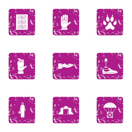 Nature of the error icons set. Grunge set of 9 nature of the error vector icons for web isolated on white background