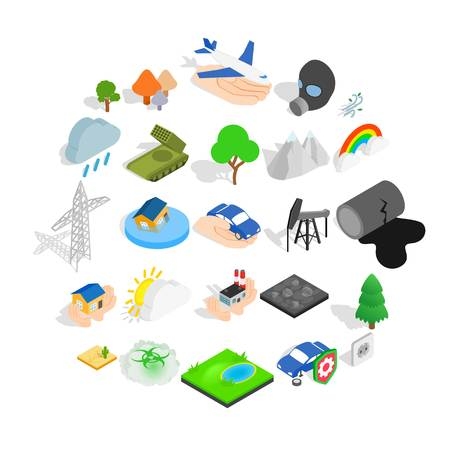 Flammable icons set. Isometric set of 25 flammable vector icons for web isolated on white background Illustration