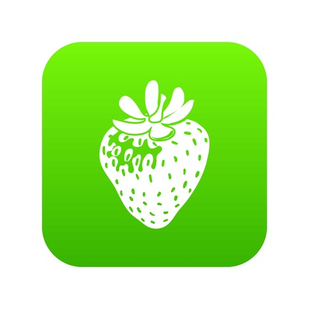 Strawberry icon green vector isolated on white background