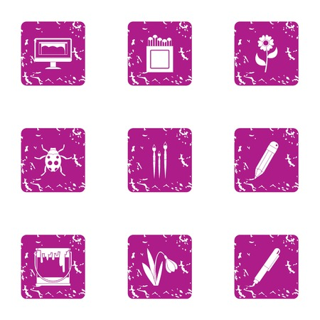 Natural research icons set. Grunge set of 9 natural research vector icons for web isolated on white background