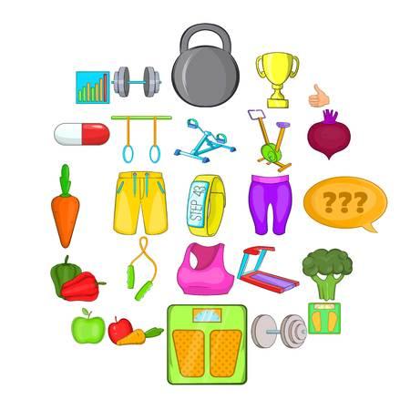 Physical examination icons set. Cartoon set of 25 physical examination vector icons for web isolated on white background