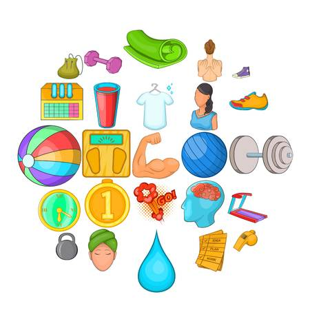 Public hall icons set. Cartoon set of 25 public hall vector icons for web isolated on white background Vektorové ilustrace