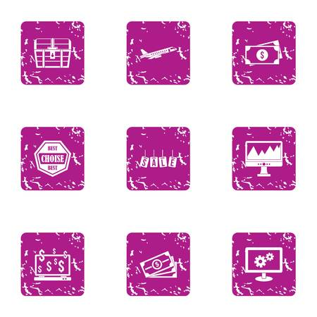 Way of sale icons set. Grunge set of 9 way of sale vector icons for web isolated on white background