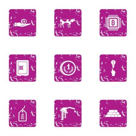 Viral savings icons set. Grunge set of 9 viral savings vector icons for web isolated on white background Ilustração