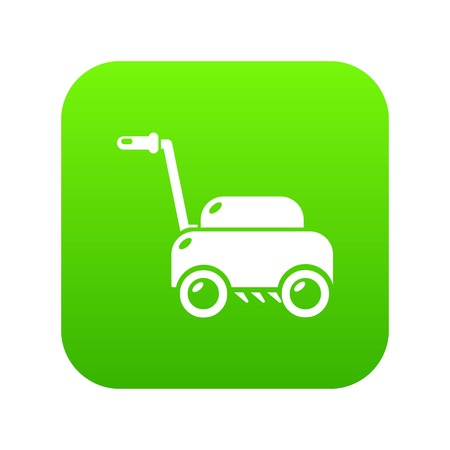 Lawn mower machine icon green vector isolated on white background 일러스트