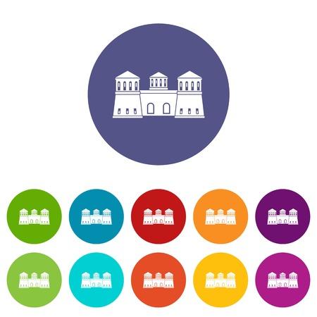 Castle icons set vector color