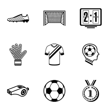 Football week icons set. Simple set of 9 football week vector icons for web isolated on white background