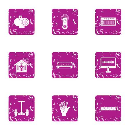 Futurism icons set. Grunge set of 9 futurism vector icons for web isolated on white background Foto de archivo - 130234996