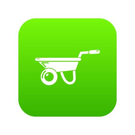 Wheelbarrow icon green vector Illustration