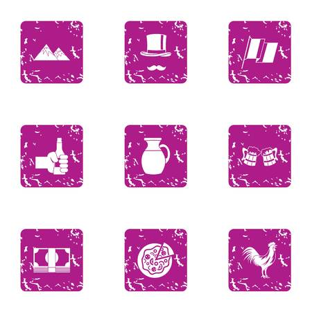 Pleasant evening icons set. Grunge set of 9 pleasant evening vector icons for web isolated on white background