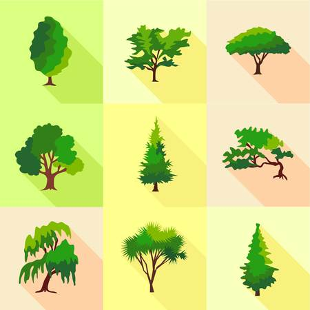 Abies icons set. Flat set of 9 abies vector icons for web isolated on white background 向量圖像