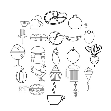 Chow icons set. Outline set of 25 chow vector icons for web isolated on white background