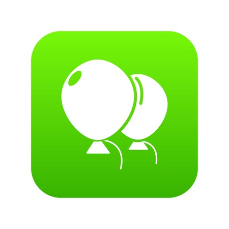 Wedding ballons icon green vector isolated on white background