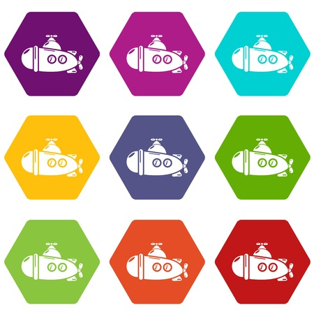 Submarine sea icons 9 set coloful isolated on white for web