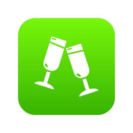 Glasses champagne icon green vector isolated on white background Ilustração